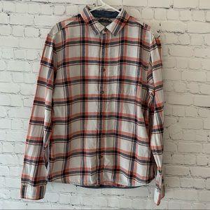 Guess men's linen blend plaid button down shirt